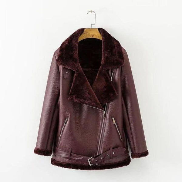 Belted Faux Fur Lined Faux Leather Moto Jacket Coat - Burgundy / S - Coat