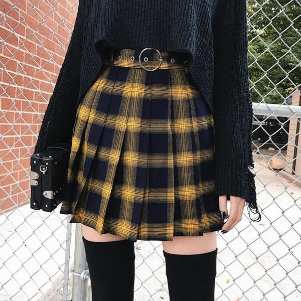 Belted Plaid High Waist Pleated Mini Skirt - Skirt