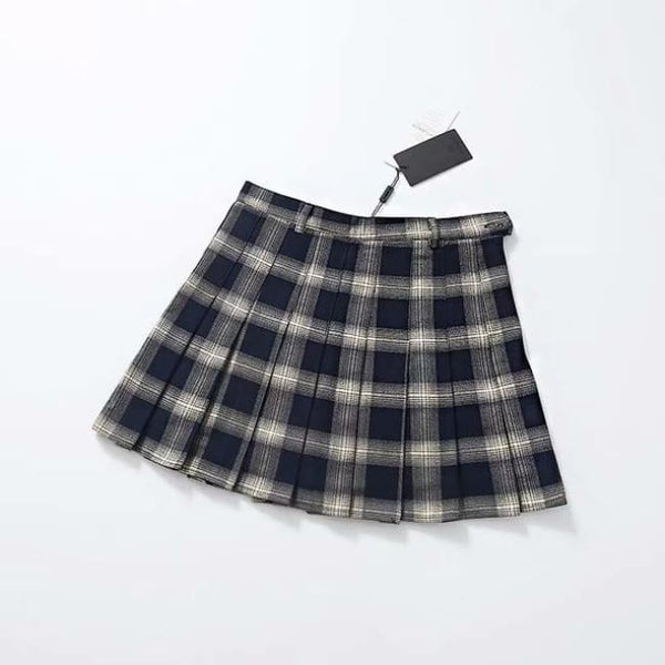 Belted Plaid High Waist Pleated Mini Skirt - Black / M - Skirt
