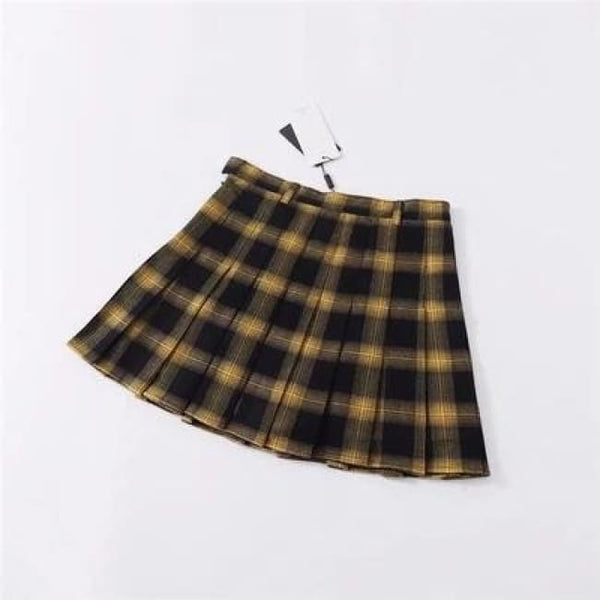 Belted Plaid High Waist Pleated Mini Skirt - Gold / M - Skirt