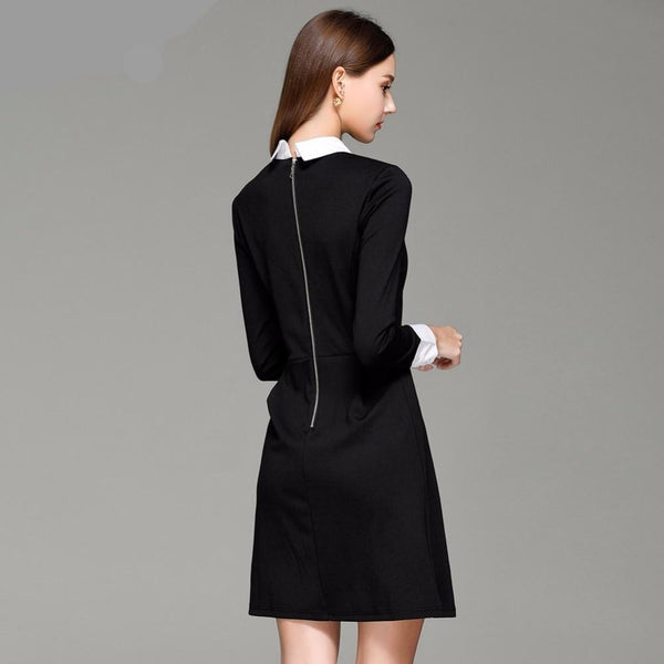 black and white collared long sleeve mini wednesday dress - Dress