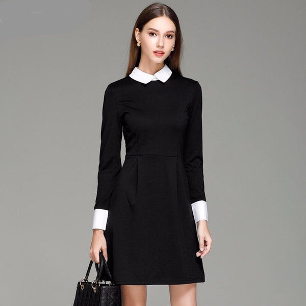 black and white collared long sleeve mini wednesday dress - Black / S - Dress