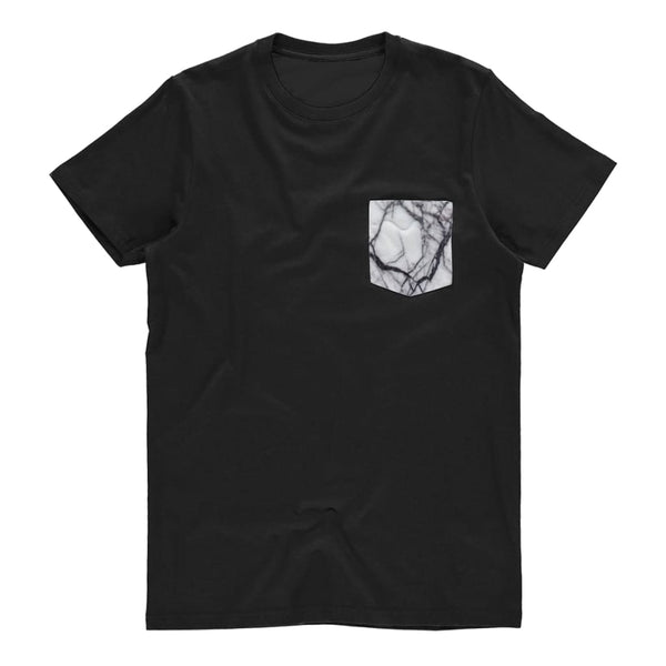 Black And White Marble Pocket Unisex Tee - Black / S - Unisex Tee