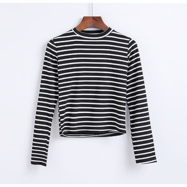 black and white striped mock neck long sleeve shirt - Black/Thick White / S - Long Sleeve Shirt