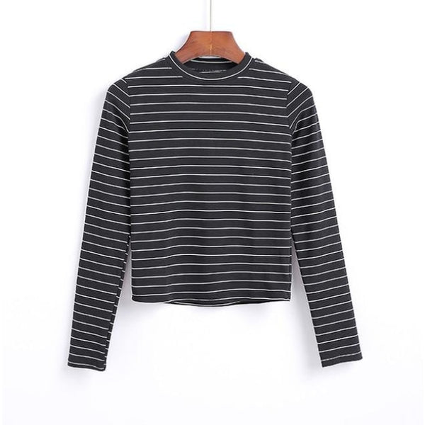 black and white striped mock neck long sleeve shirt - Black/Thin White / S - Long Sleeve Shirt