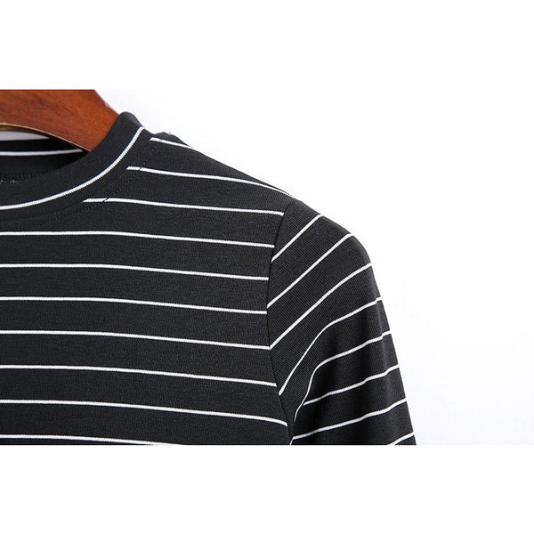 black and white striped mock neck long sleeve shirt - Long Sleeve Shirt