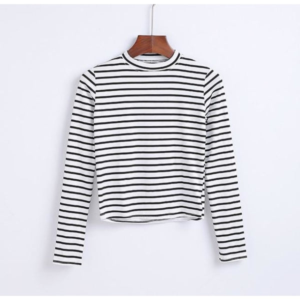 black and white striped mock neck long sleeve shirt - White/Thick Black / S - Long Sleeve Shirt