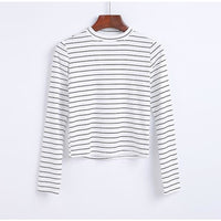 black and white striped mock neck long sleeve shirt - White/Thin Black / S - Long Sleeve Shirt