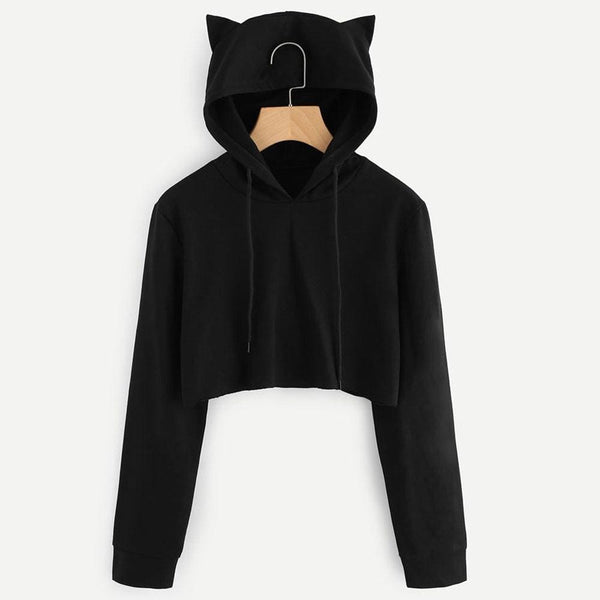 Black Cat Ears Pullover Crop Hoodie - Crop Hoodie