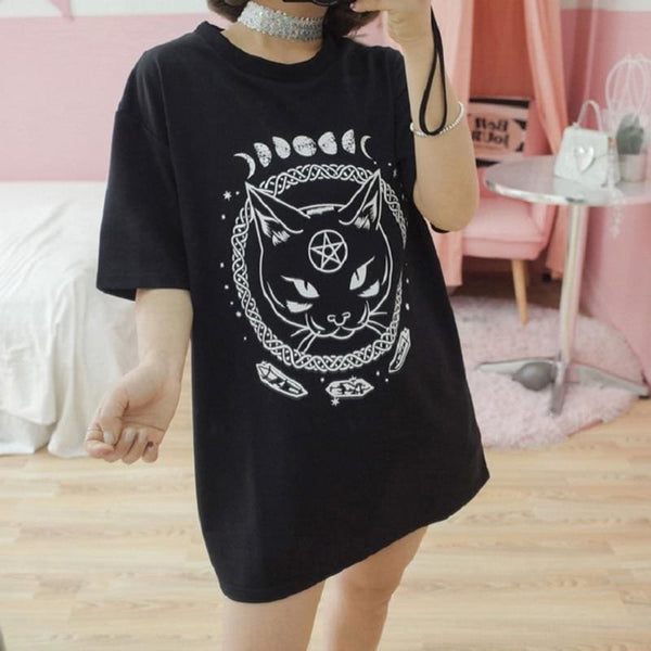 Black Cat Moon And Crystals Witchy Tee Shirt - Unisex Tee