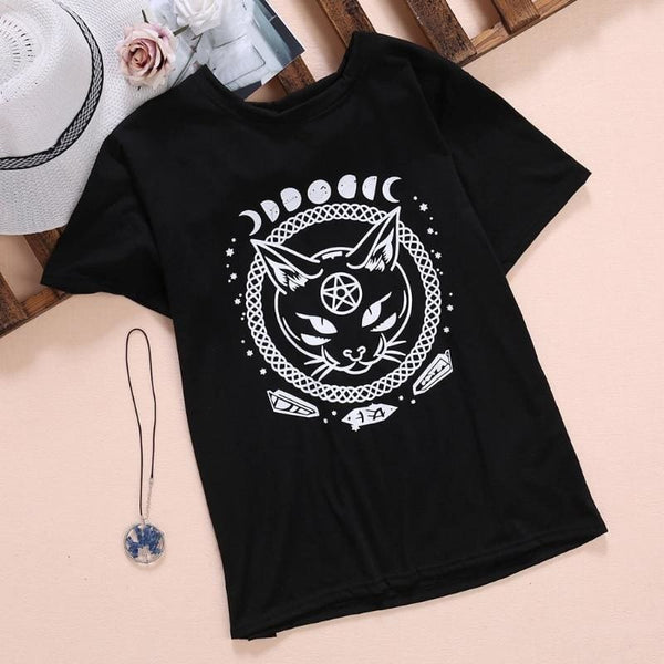 Black Cat Moon And Crystals Witchy Tee Shirt - Black / Xs - Unisex Tee