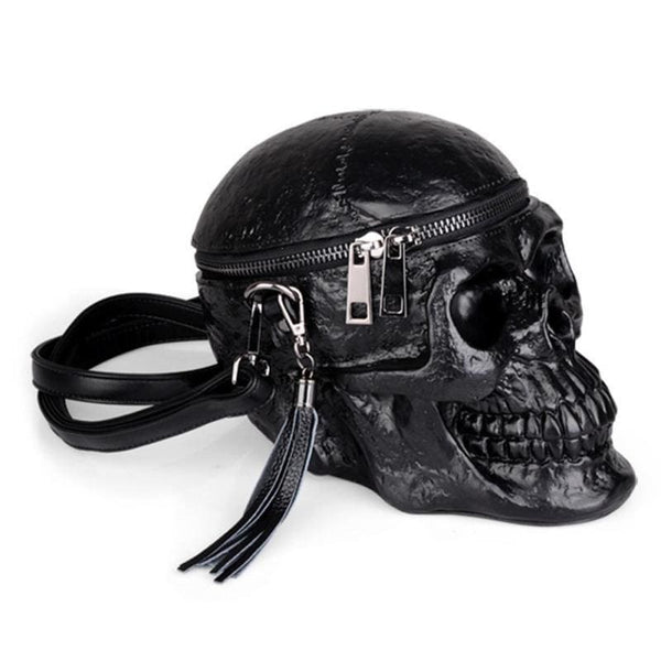 Black Skull Gothic Crossbody Bag - Black - Purse