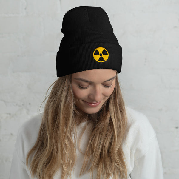 Radioactive Fallout Warning Sign Cuffed Embroidered Beanie - Beanie