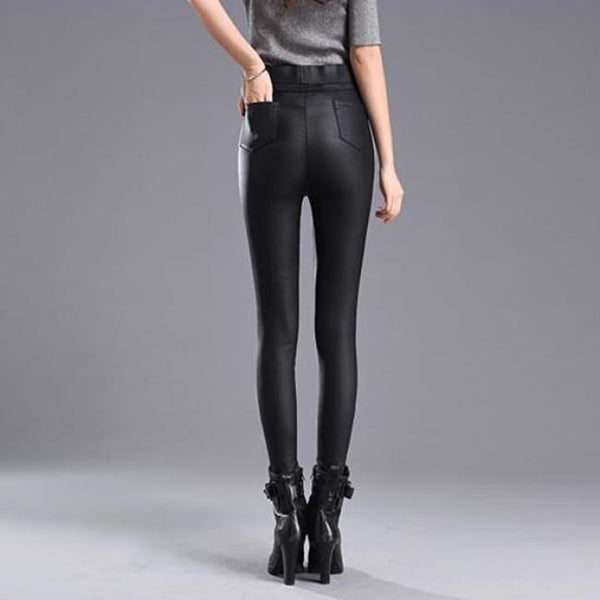 Bold Zipper High Waist Stretchy Faux Leather Pants - Pants
