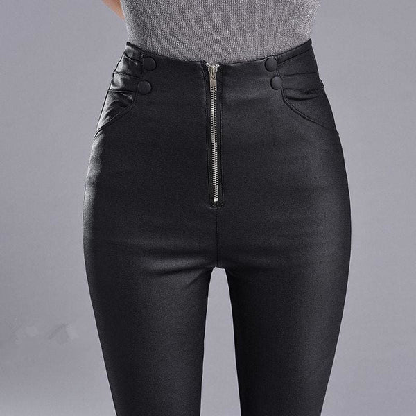 Bold Zipper High Waist Stretchy Faux Leather Pants - Black / S - Pants