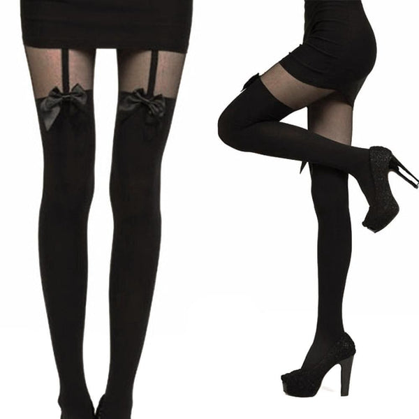 Bow Tie Thigh High Garter Style Tights - Tights