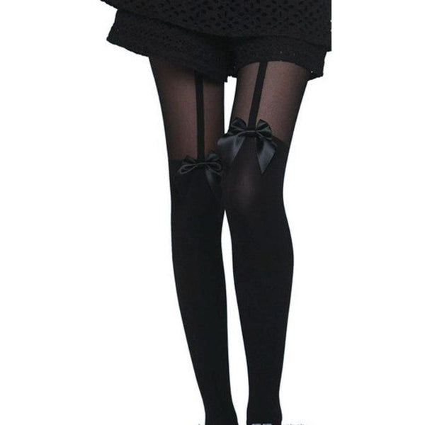 Bow Tie Thigh High Garter Style Tights - M / Black - Tights