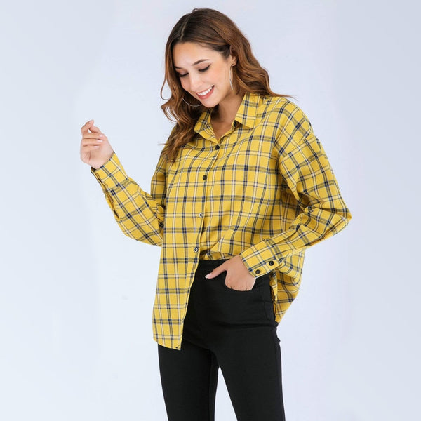Boxy Yellow Plaid Flannel Shirt - Yellow / S - Shirt