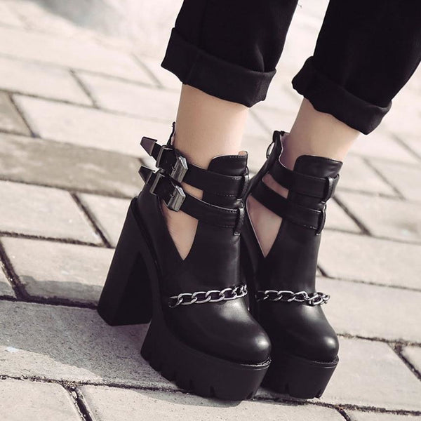 Buckled And Chained Cut-Out Ultra Platform Boots - Boots
