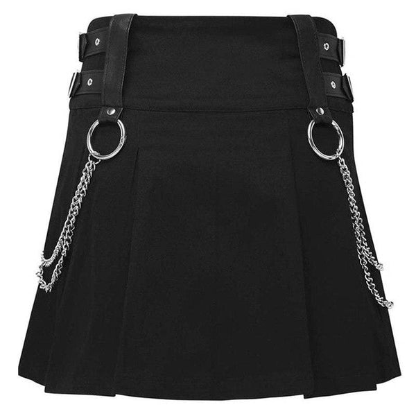 Chained And Strapped Zip Up A-Line Mini Skirt - Skirt