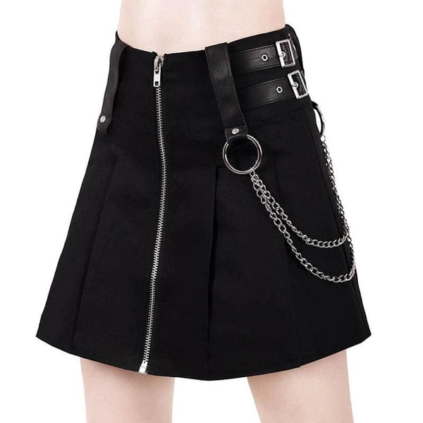 Chained And Strapped Zip Up A-Line Mini Skirt - Black / S - Skirt