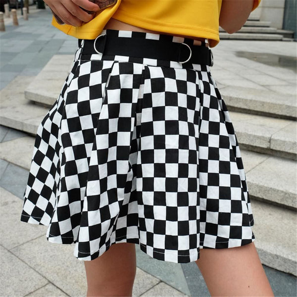 Checkered Pleated High Waist Mini Skater Skirt - Black And White / L - Skirt