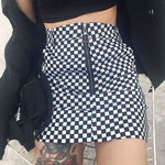 Checkered Ring Zip Pocketed Fitted Mini Skirt - Black / S - Skirt