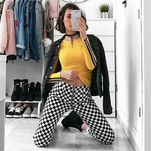 checkered straight leg zipper pants - Pants