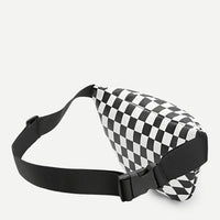 checkered zipper front fanny pack - Fanny Pack