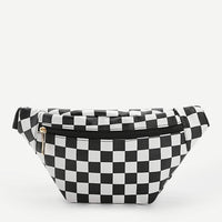 checkered zipper front fanny pack - Black and White - Fanny Pack