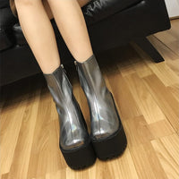 chunky holographic silver ultra platform boots - Womens Boots