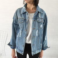 Classic Blue Destroyed Boyfriend Denim Jacket - Blue / S - Jacket