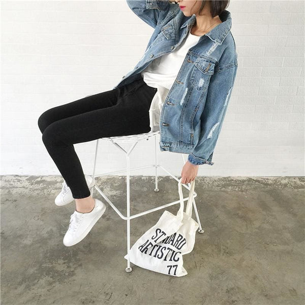 Classic Blue Destroyed Boyfriend Denim Jacket - Jacket