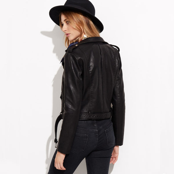 classic faux leather belted moto jacket - Jacket