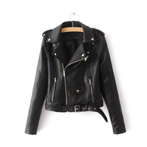 classic faux leather belted moto jacket - Black / S - Jacket