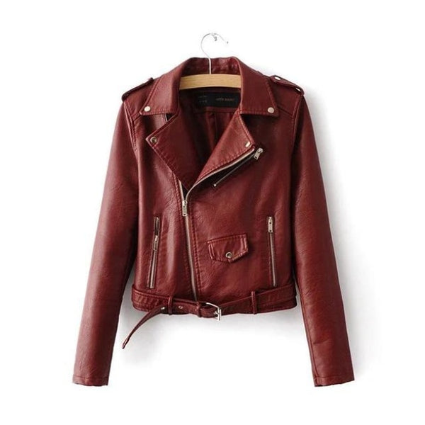 classic faux leather belted moto jacket - Burgundy / S - Jacket