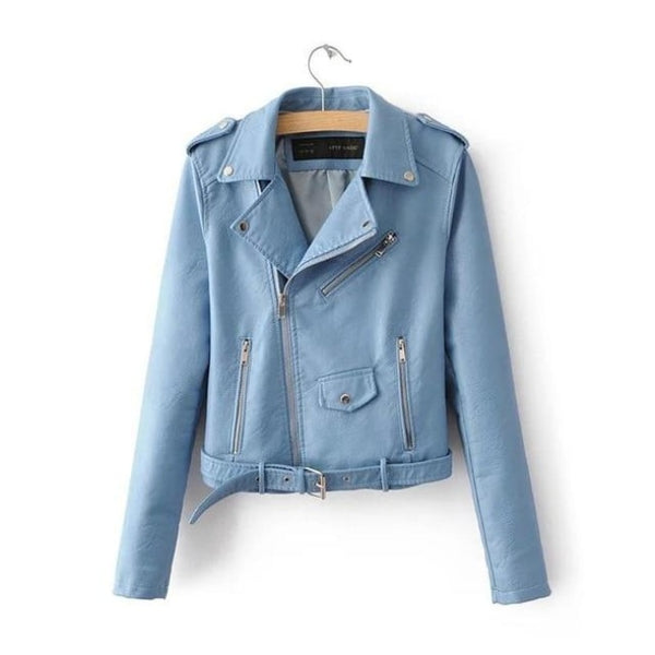 classic faux leather belted moto jacket - Light Blue / S - Jacket