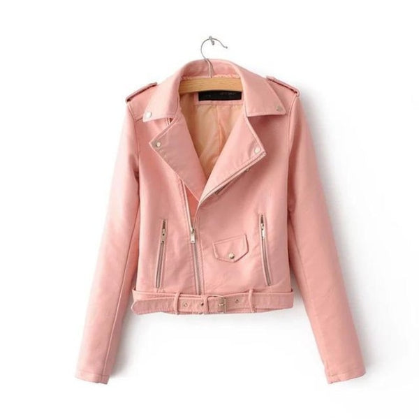 classic faux leather belted moto jacket - Pink / S - Jacket