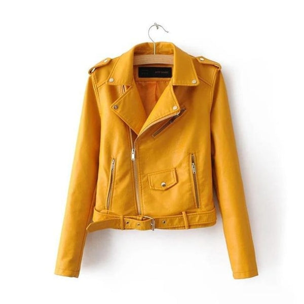 classic faux leather belted moto jacket - Yellow / S - Jacket