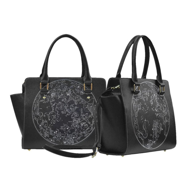 Constellation Maps Faux Leather Top Handle Crossbody Handbag - Black - Purse