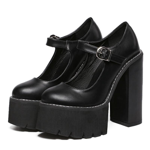 contrast stitched ultra platform mary jane heels - Black / 6 - Heels