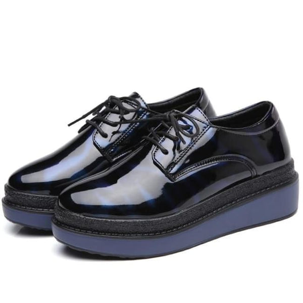 Cosmic Blue-Black Patent Platform Creepers - Blue / 6 - Creepers