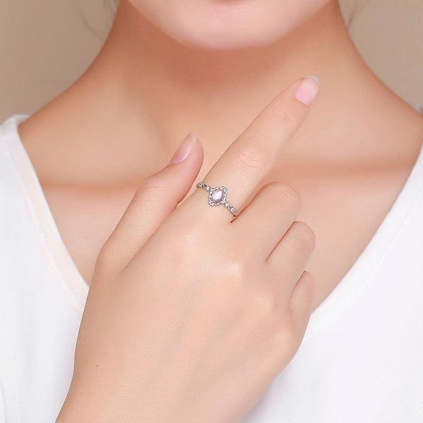 Dainty Silver Oval Moonstone Ring - Ring