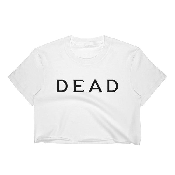 Dead Tombstone Lettering Crop Top Tee - White / S - Crop Top