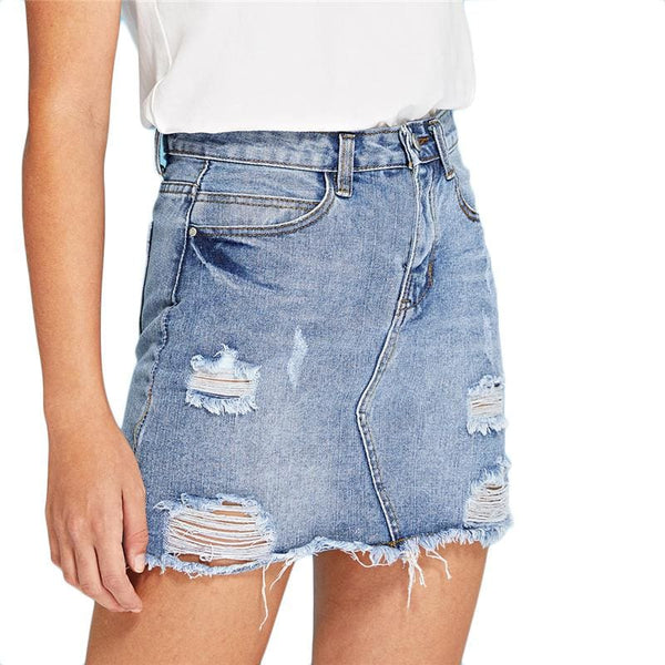 Destroyed Faded Blue Denim Mini Skirt - Skirt