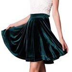 velvet flared high waist mini skater skirt