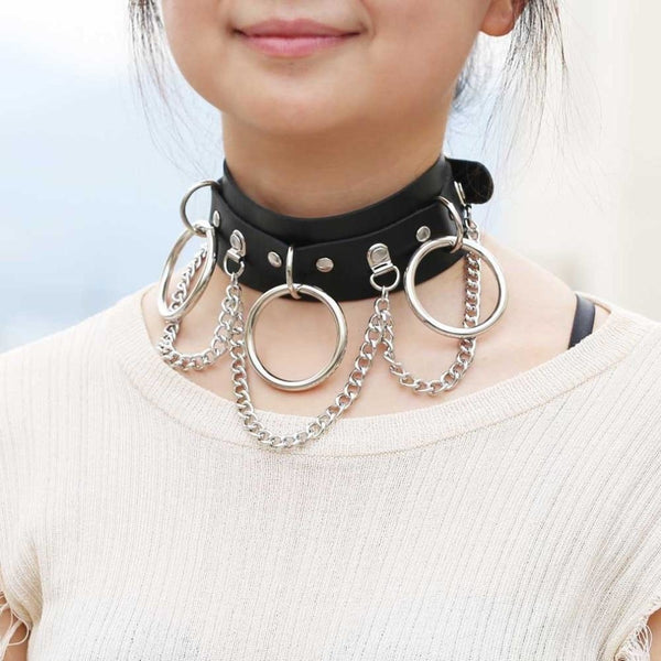 drop chains O-ring faux leather collar choker - Choker