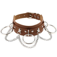drop chains O-ring faux leather collar choker - Brown - Choker
