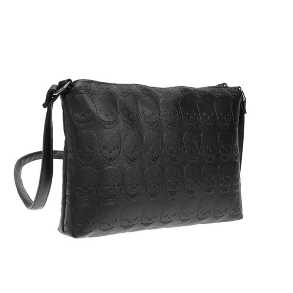 Embossed Skulls Faux Leather Crossbody Bag - Purse