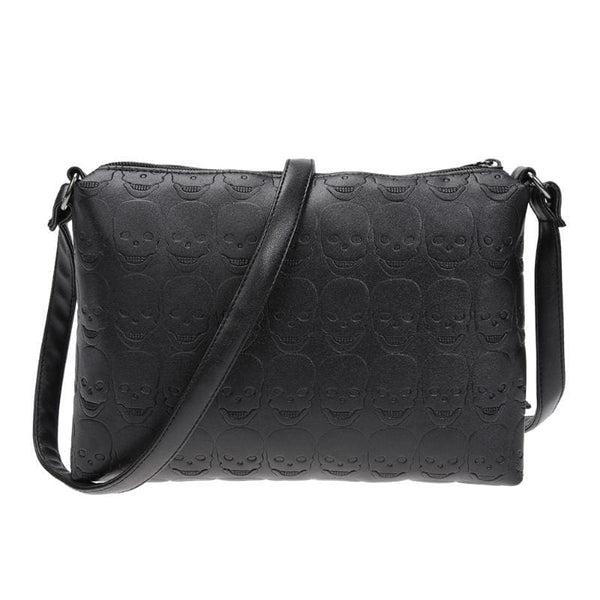 Embossed Skulls Faux Leather Crossbody Bag - Black - Purse